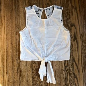 Anthropologie Maeve | Tie-up Sleeveless White Top